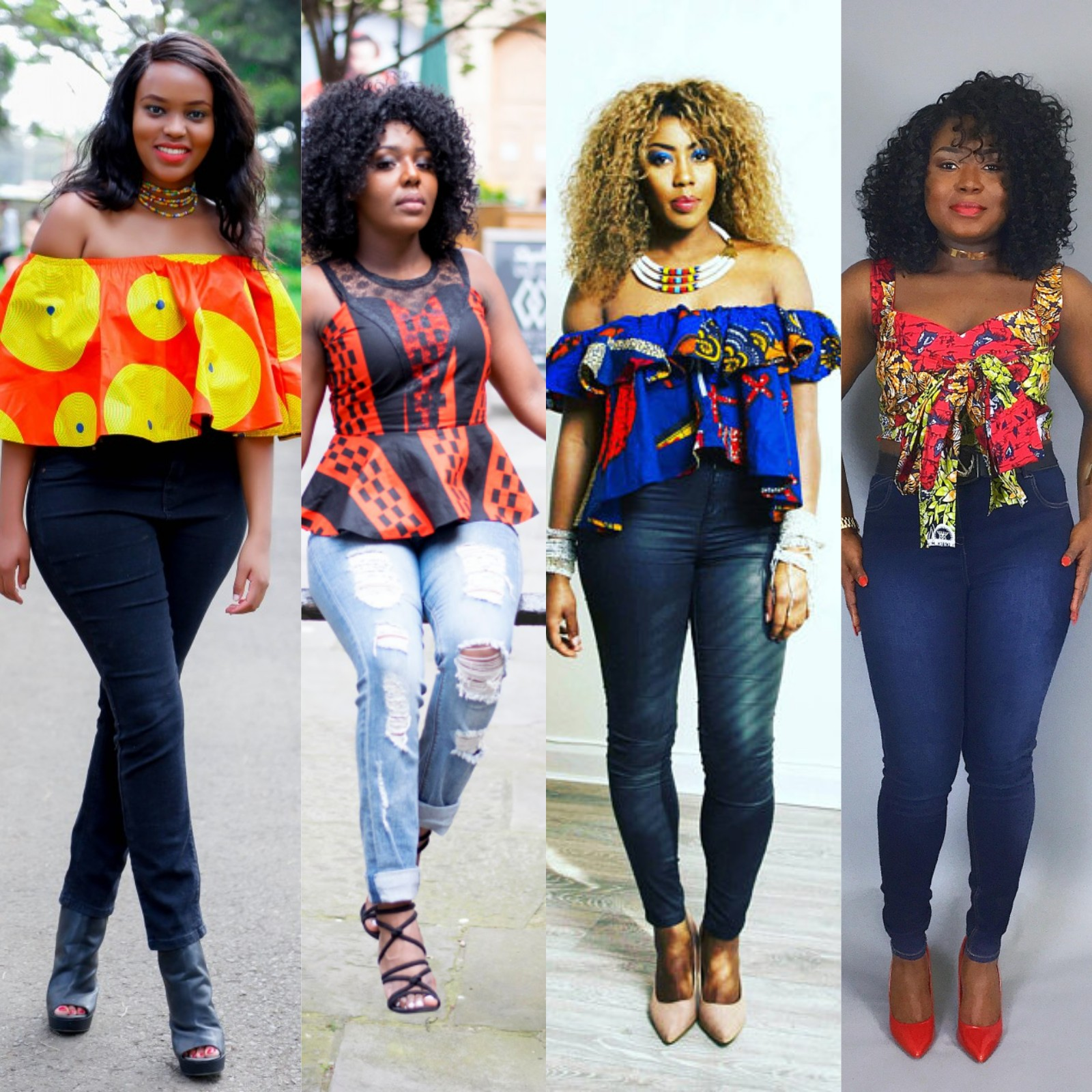 Ankara Friday Ladies Ankara Tops On Trouser Jeans