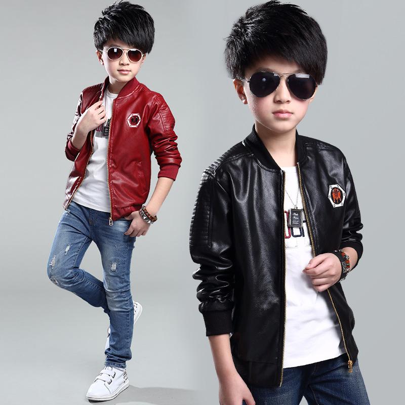 Boys Autumn New Childrens Clothing Korean Baseball Uniform Jacket Outside Wear Trend Kids Red Black