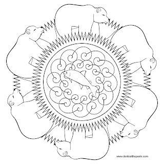 Bear mandala to print and color- 100 ppi jpg version- transparent PNG version also available.