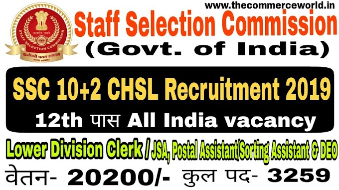 SSC 10+2 CHSL Recruitment Online Form 2019