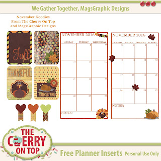 free November planner inserts from The Cherry On Top