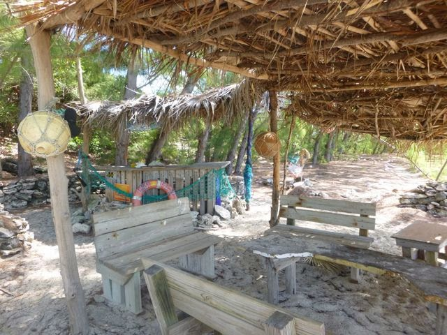 lounge at flip flop beach near georgetown bahamas