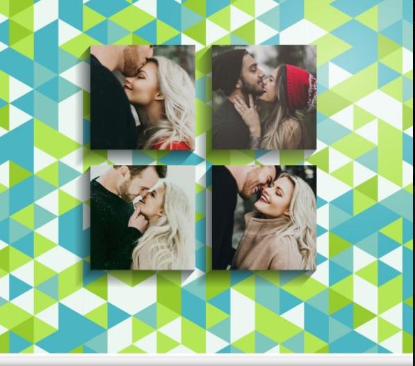 Colagem com 4 fotos aros com formas dia dos namorados