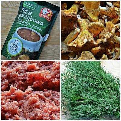 Pulpety w sosie grzybowym z kurkami i koperkiem - składniki