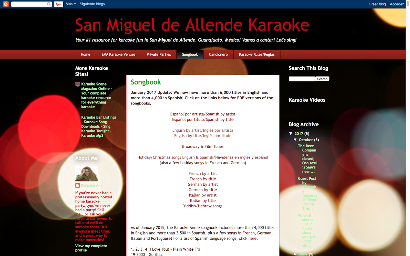 San Miguel de Allende Karaoke: New songbook PDFs available