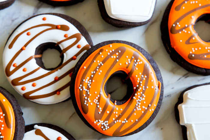 how to make latte and donut decorated cookies for fall | bakeat350.net