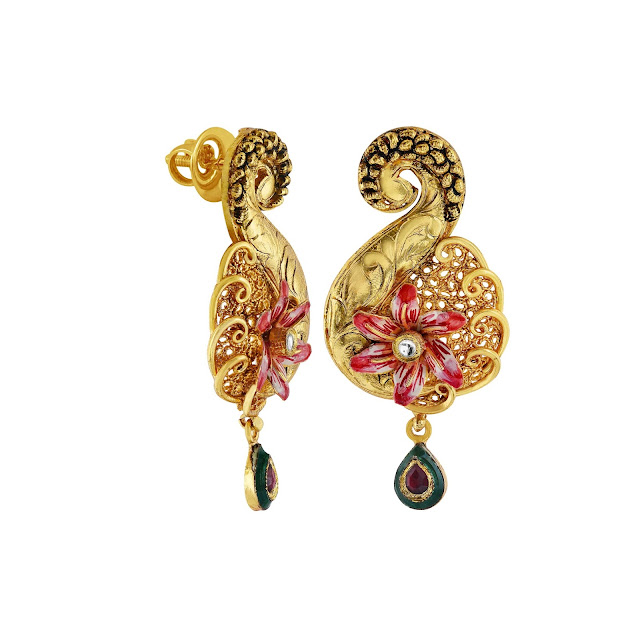 Elegant earrings curated in sterling silver with filigree, enamelling and detailed inscription in a gold plated tone by Izaara-min