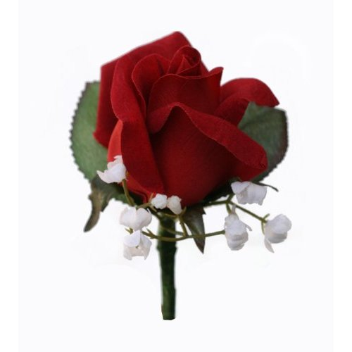 Red Silk Rose Boutonniere