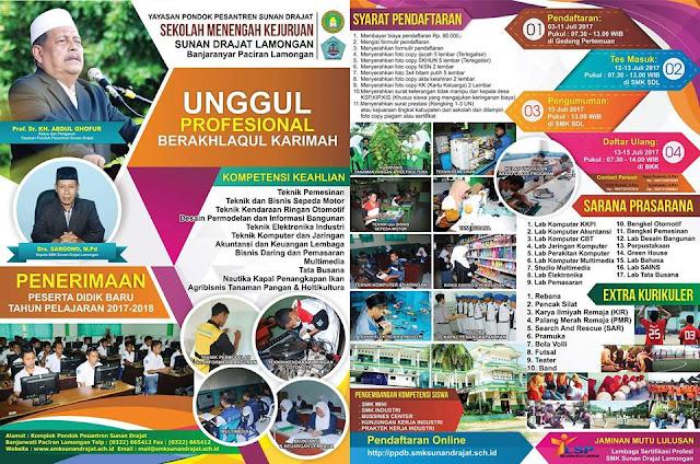 Brosur Pendaftaran Sekolah Di Pondok Pesantren Sunan Drajat 2017