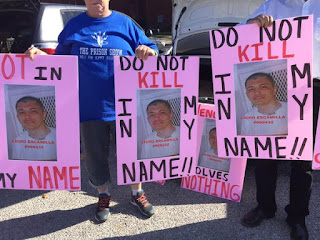 Protesting Escamilla's execution in Huntsville