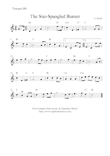 The Star-Spangled Banner, sheet music trumpet