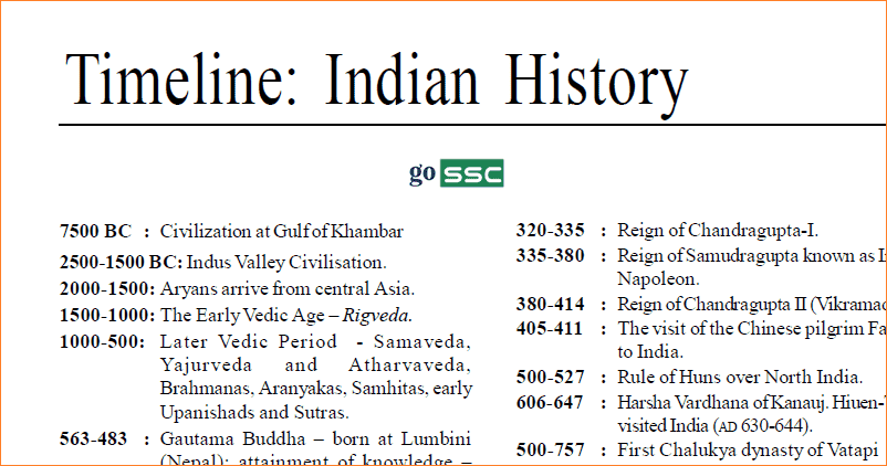 Indian history timeline also download pdf gossc ssc cgl ibps sbi rrb rh