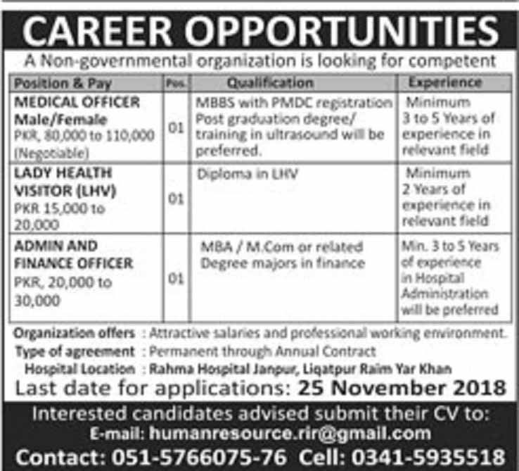 Jobs in Rahim Yar Khan for Medical Officer, Lady Health Visitor,Admin Finance