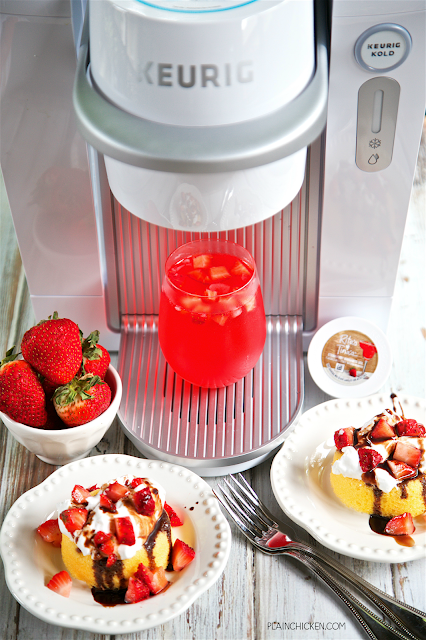 Strawberry Shortcake Cocktail - super refreshing summer cocktail with only 3 ingredients. The Keurig Kold makes this cocktail so easy! Just pop in the pod, add liquor and press a button. Magic! So easy and delicious!
