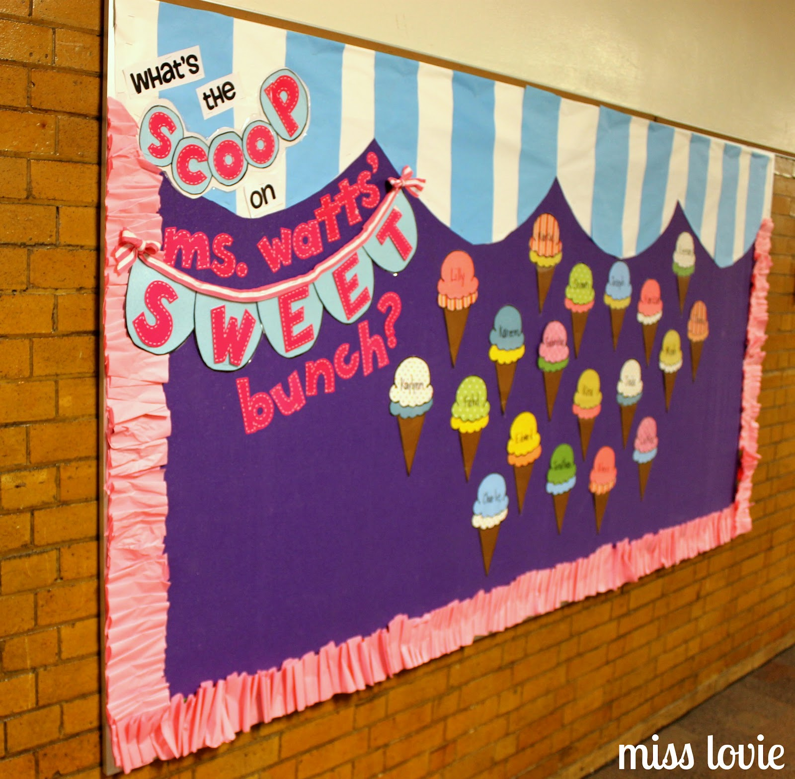 Miss lovie ice cream bulletin board and ruffle border for Notice board decoration