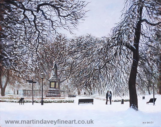 Southampton Watts Park in the Snow oil painting