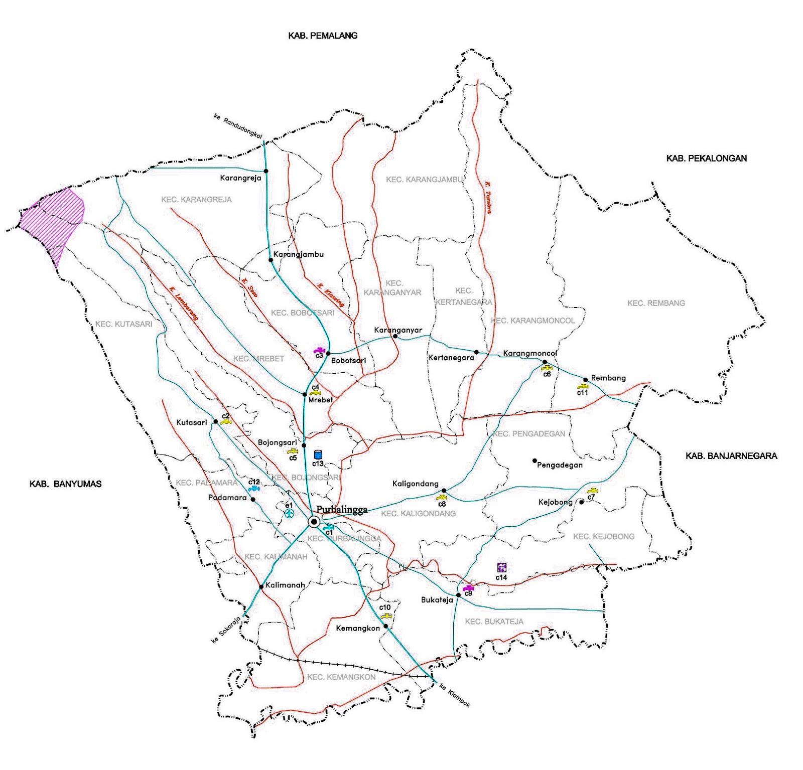 Gambar Peta infrastruktur Kabupaten Purbalingga