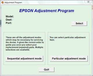 adjustment program main screen