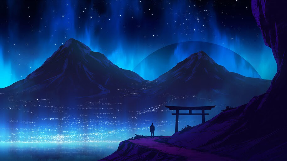 Silhouette, Night, Sky, Mountain, Landscape, Scenery, Digital Art, 4K, #6.1270