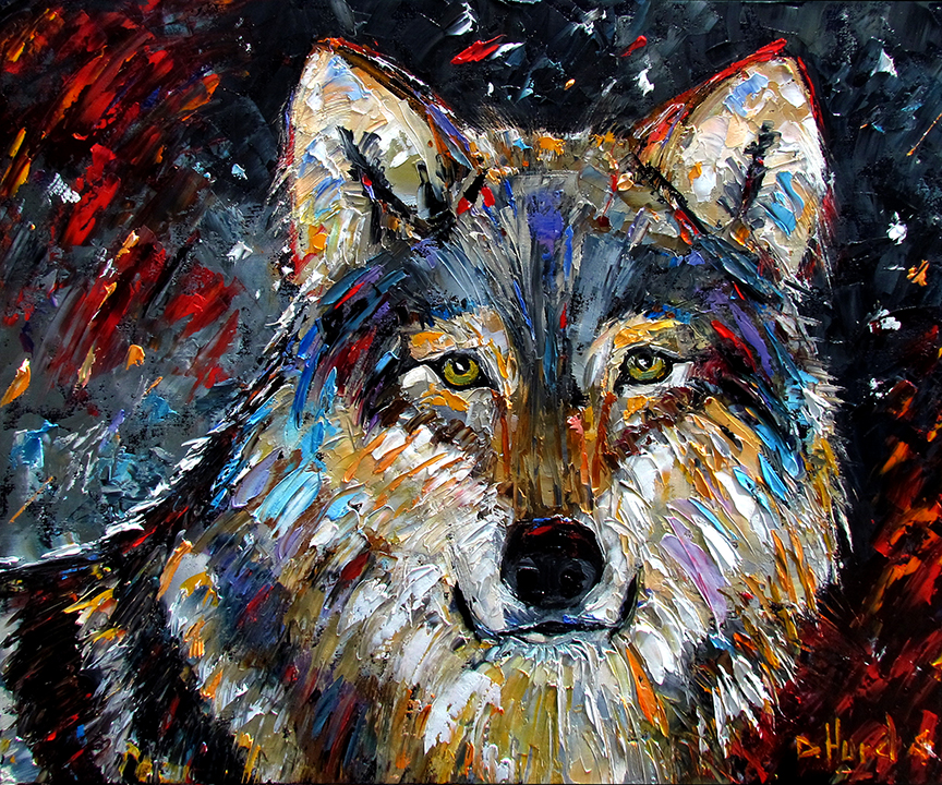 Debra hurd original paintings and jazz art wolf wild for Animal oil paintings