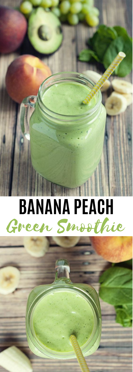 Banana Peach Green Smoothie #healthy #breakfast