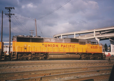 Union Pacific SD60M #6325 at Albina Yard in Portland, Oregon, in March, 1997