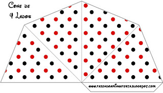 Red Polka Dots in Black and White  Free Printable Cones.