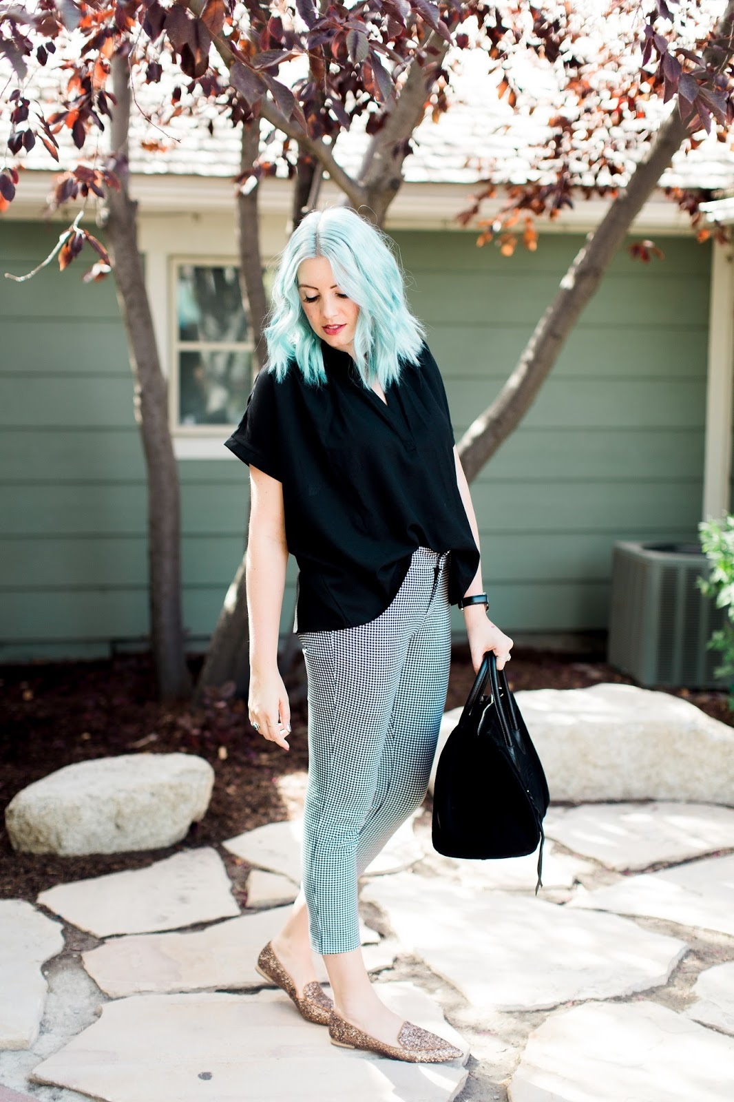 TOBI shirt, Old Navy Pants, Blue Hair