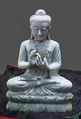 White Laughing Jade Buddha Statue sitting