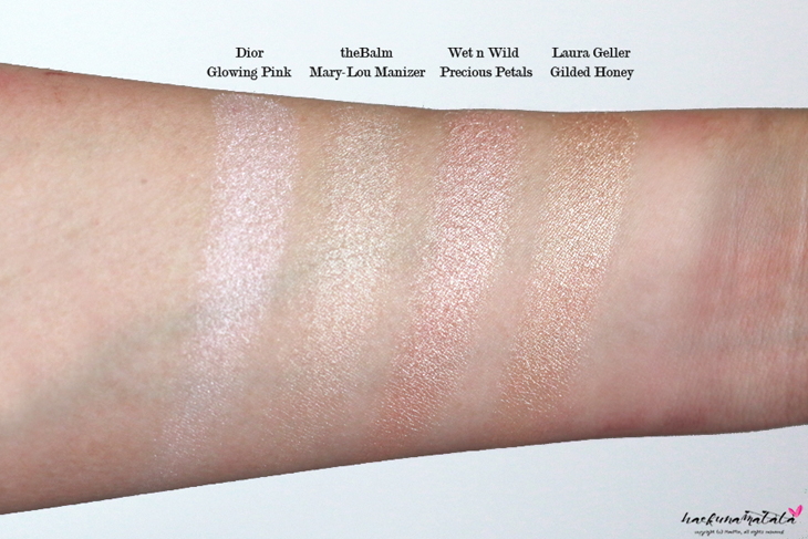 Laura Geller Gilded  Honey, Dior Glowing PInk, TheBalm Mary-Lou Manizer, Wet n Wild Precious Petals Favorite Highlighters Comparison Dupes