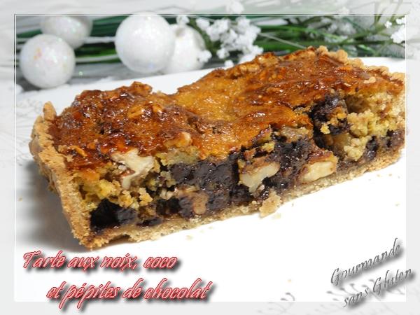 Tarte aux noix, coco et pépites de chocolat