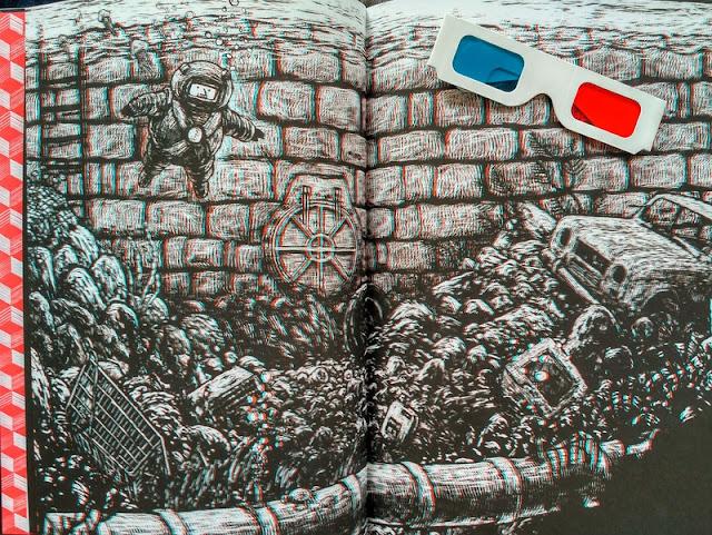 Jedna z rozkładówek i dołączone do komiksu okulary
