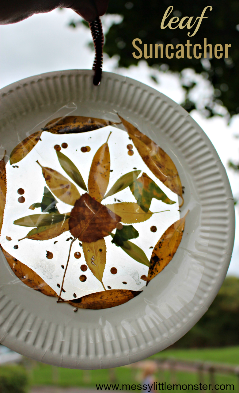 Leaf Suncatcher Craft - Easy Fall Crafts for Kids. A leaf art project for toddlers and preschoolers to enjoy.