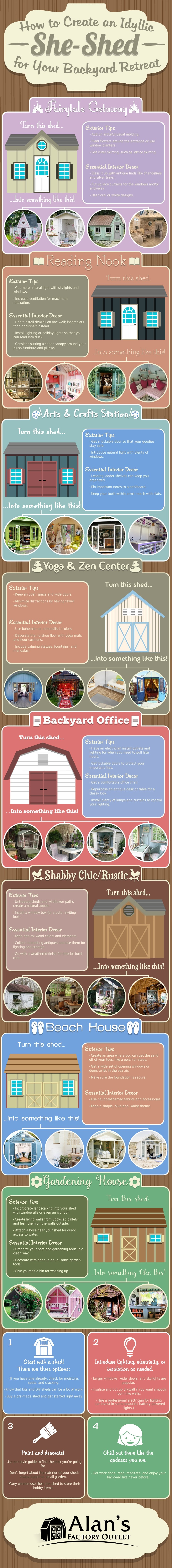How to Create an Idyllic She-Shed for Your Backyard Retreat #infographic