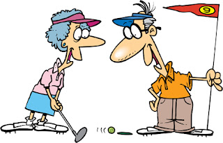 Clipart Image of a Senior Couple Golfing