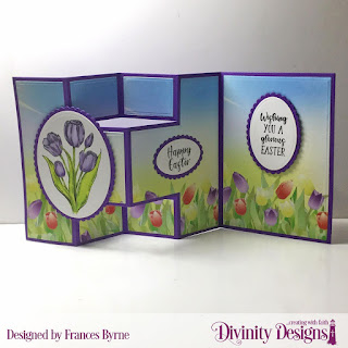 Stamp Set: Glorious Easter  Custom Dies:  Half-Shutter Card with Layers, Ovals, Scalloped Ovals  Paper Collection: Spring Flowers 2019