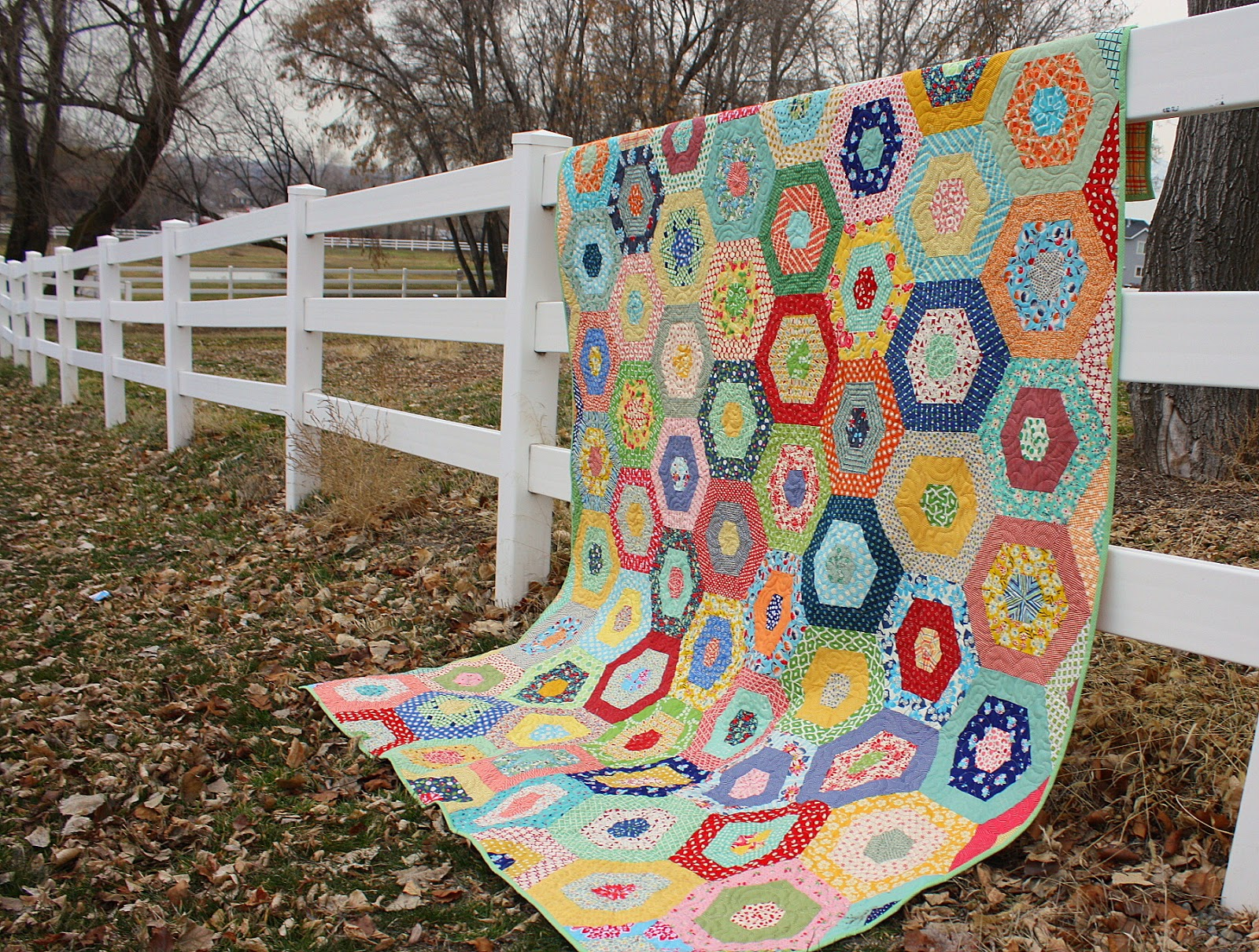 Scrappy Giant Hexagon quilt - Diary of a Quilter - a quilt blog : large hexagon quilt - Adamdwight.com