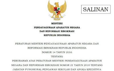 Permenpan-RB Nomor 14 Tahun 2016 Tentang Jabatan Fungsional Pengawas Sekolah dan Angka Kreditnya