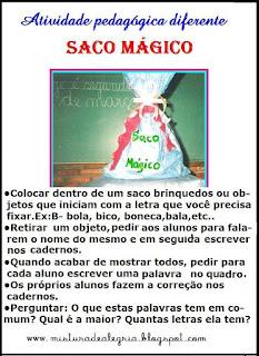alfabetização saco mágico