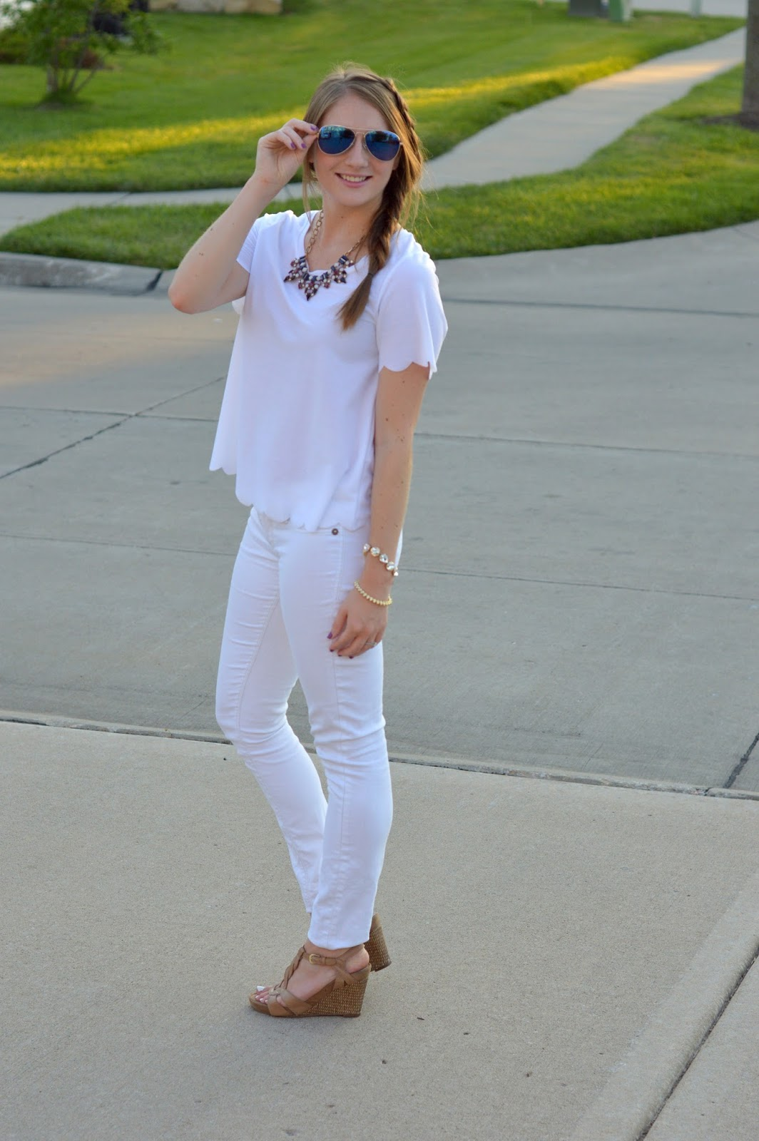 white on white outfit idea | what to wear this summer | white scalloped top | how to style an all white outfit | monochrome outfit ideas | what to wear this summer | cute outfit ideas for summer | a memory of us | kansas city fashion blog |