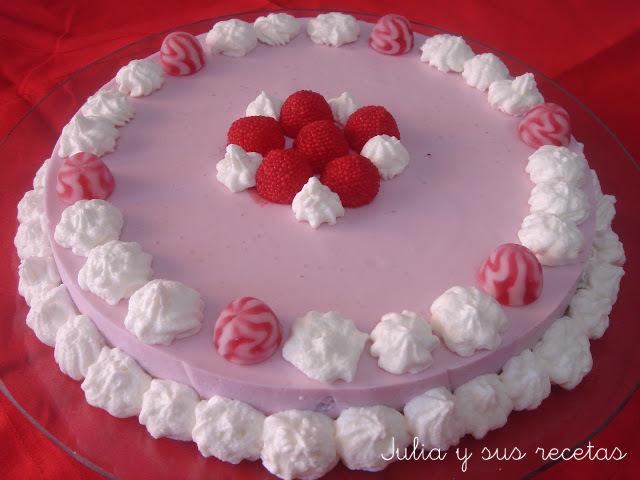 Tarta de gelatina de frambuesas. Julia y sus recetas
