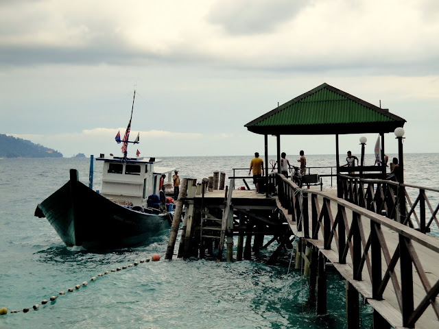 Ferry port with boat towards Mersing
