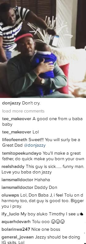 Go born your own - Fans tell Don Jazzy as he cuddles a baby