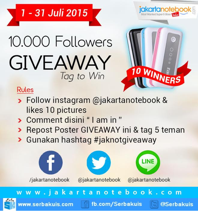 Jaknot Giveaway Tag to Win Berhadiah 10 Powerbank