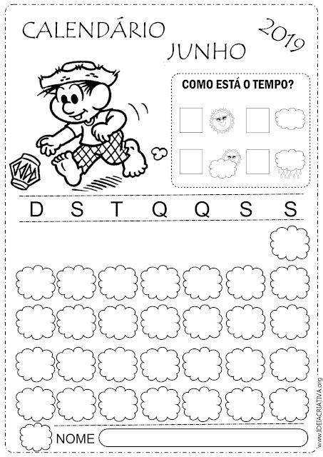 Calendários escolares Junho 2019 para imprimir e colorir