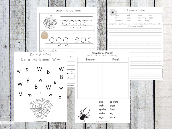 spider tracing, alphabet, plurals, writing prompts