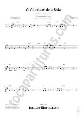 Trompeta y Fliscorno Partitura de Al Atardecer de la Vida Sheet Music for Trumpet and Flugelhorn Music Scores