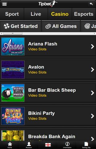 Tipbet Casino Mobile Screen