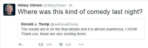 Hillary Clinton claps back at Donald Trump for saying he won final presidential debate