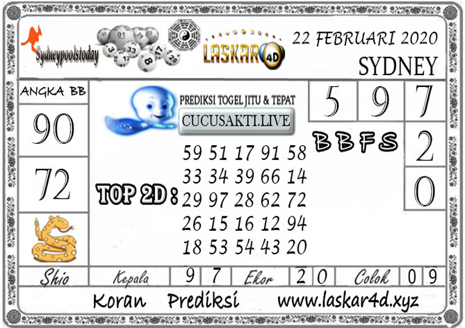 Prediksi Togel SYDNEY LASKAR4D 22 FEBRUARI 2020